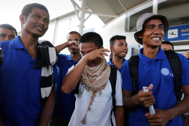 The sailors, including Arnel Balbero (right), flew to Kenya after their release