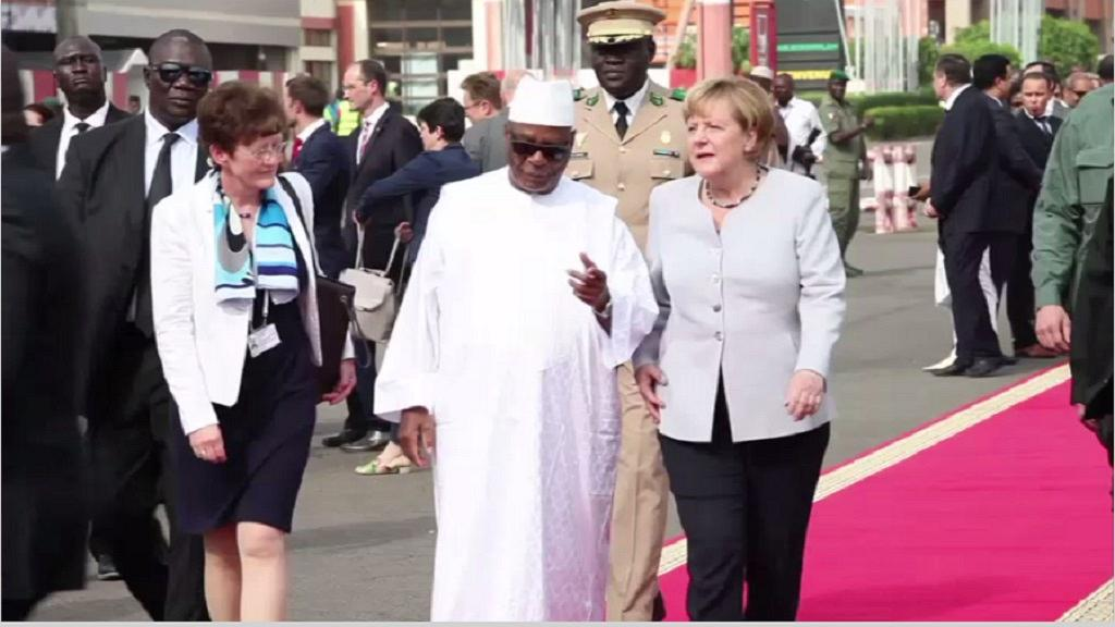 Malian President Ibrahim Boubacar Keita with German Chancellor Angela Merkel in Mali in October