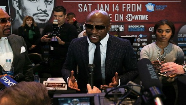 NEW YORK, NY - NOVEMBER 16: President of Mayweather Promotions Floyd Mayweather addresses the media after the press conference announcing the Badou Jack v James DeGale Super Middleweight World Title Unification Bout at Barclays Center on November 16, 2016 in the Brooklyn borough of New York City.   Michael Reaves/Getty Images/AFP