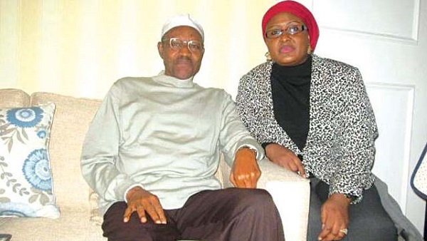 President Buhari and wife, Aisha.