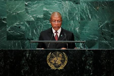 Prime Minister Pakalitha Mosisili of Lesotho addresses the United Nations General Assembly in the Manhattan borough of New York, U.S., September 23, 2016.  REUTERS/Eduardo Munoz
