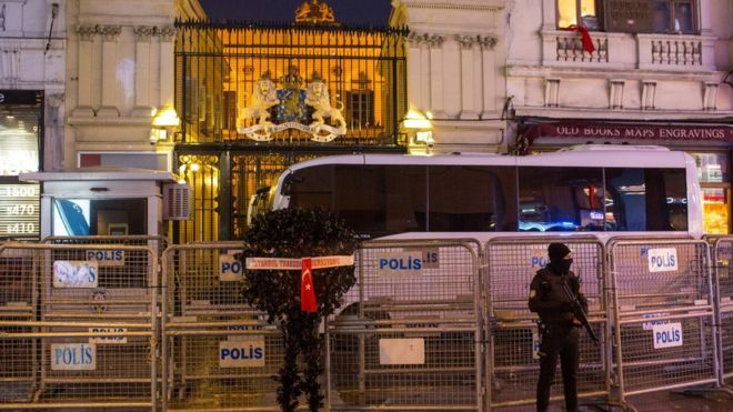 Security is heavy outside Dutch diplomatic buildings in Turkey. Photo Credit: Getty