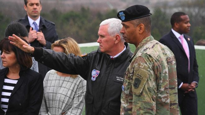 Mr Pence (centre) looked over to North Korea from an observation post at Panmunjom. PHOTO: AFP/ GETTY