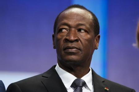 Former president of Burkina Faso, Blaise Compaore, sits on stage in New York September 26, 2013. The CGI was created by Bill Clinton in 2005 to gather global leaders to discuss solutions to the world's problems. REUTERS/Lucas Jackson/File Photo.