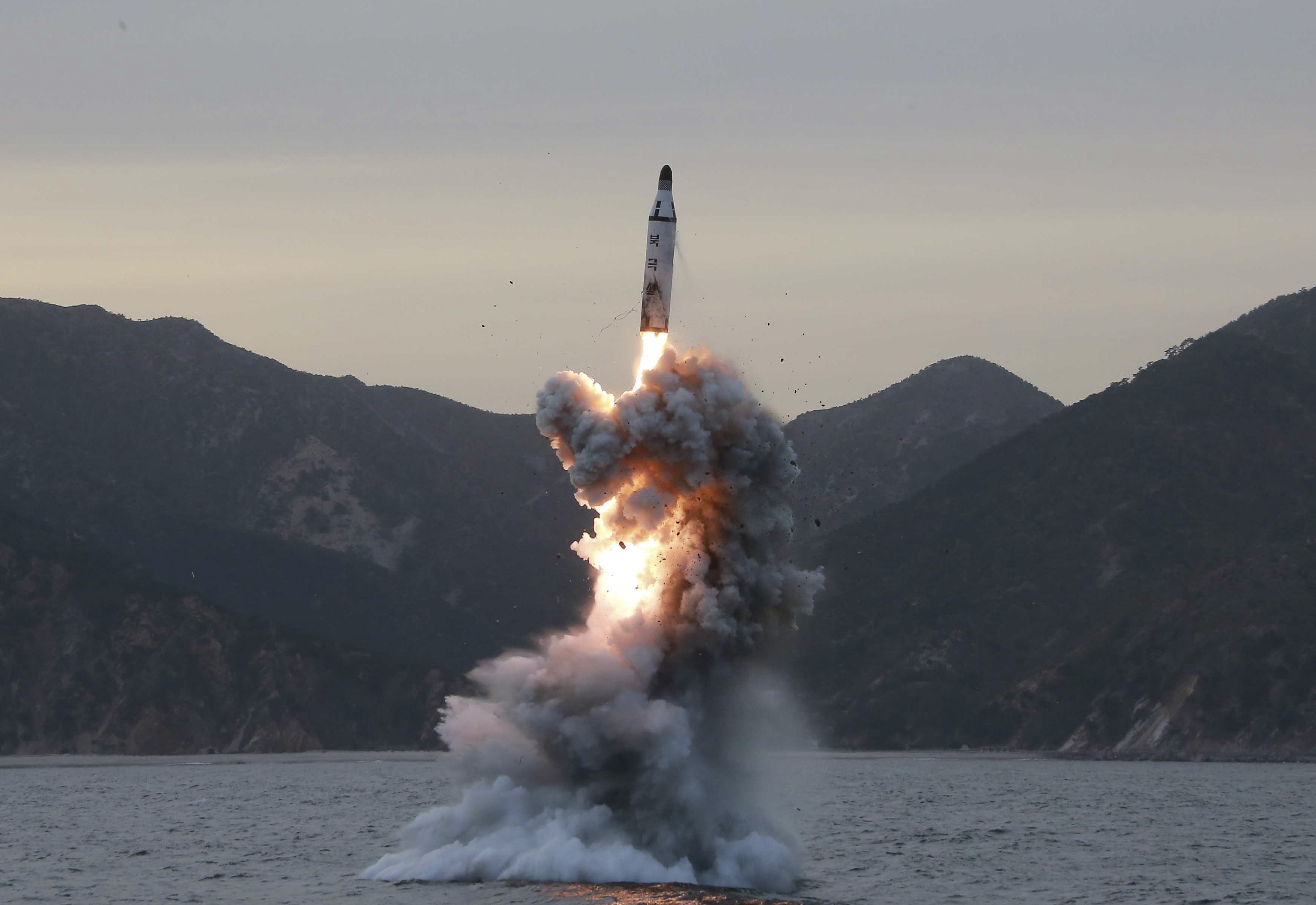 epa05888911 (FILE) - An undated photo released on 24 April 2016 by North Korean Central News Agency (KCNA) shows an 'underwater test-fire of strategic submarine ballistic missile' conducted at an undisclosed location in North Korea (reissued 05 April 2017). According to media reports on 05 April 2017, North Korea fired a ballistic missile into the Sea of Japan. The missile was fired from the port city of Sinpo, on North Korea's east coast. The launch occurred ahead of a summit between Chinese and US leaders organized to discuss North Korea's military programs and capabilities.  EPA/KCNA   EDITORIAL USE ONLY