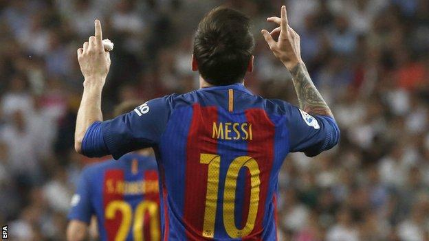 Messi, 31, has scored 581 goals in 664 games for Barcelona.