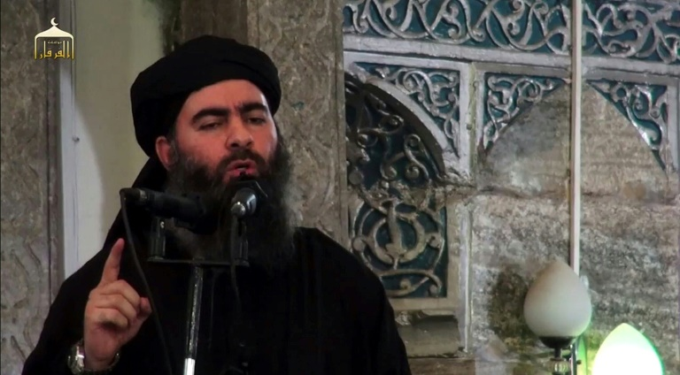 This image grab taken from a propaganda video released on July 5, 2014 allegedly shows the leader of the Islamic State (IS) jihadist group, Abu Bakr al-Baghdadi. File Photo: AFP