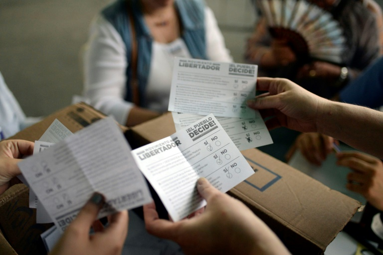 Volunteers count the ballots in Caracas during an opposition-organized vote to measure public support for Venezuelan President Nicolas Maduro's plan to rewrite the constitution. Photo: AFP