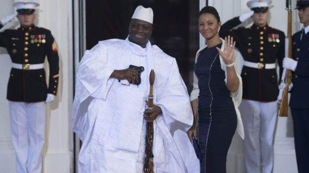 Yahya Jammeh picture with Zineb Yahya Jammeh, one of his two wives, in 2014. Photo: GETTY
