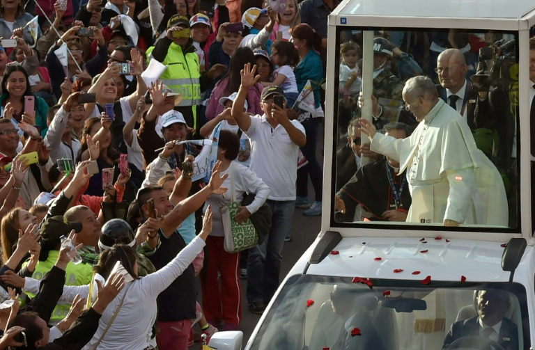 Pope Francis landed in Colombia on Wednesday to plead for lasting peace in a country moving towards the end of a half-century war, and praying for stability in its crisis-stricken neighbor Venezuela. Photo: AFP