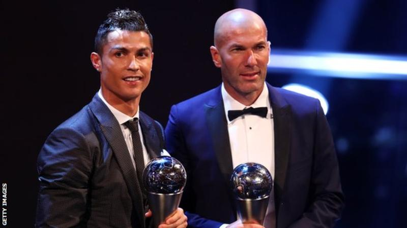 former Real Madrid forward Cristiano Ronaldo and former boss Zinedine Zidane with their awards