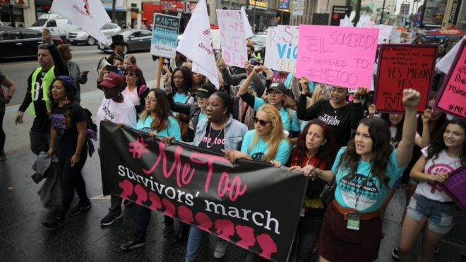 The march was led by Tarana Burke, who started the #MeToo hashtag (centre). Photo: Reuters
