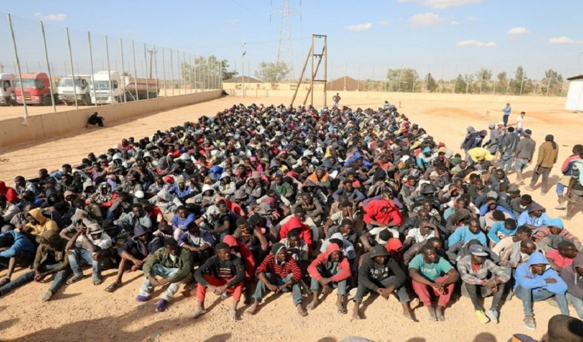 Hundreds of Migrants detained at a centre in Libya.