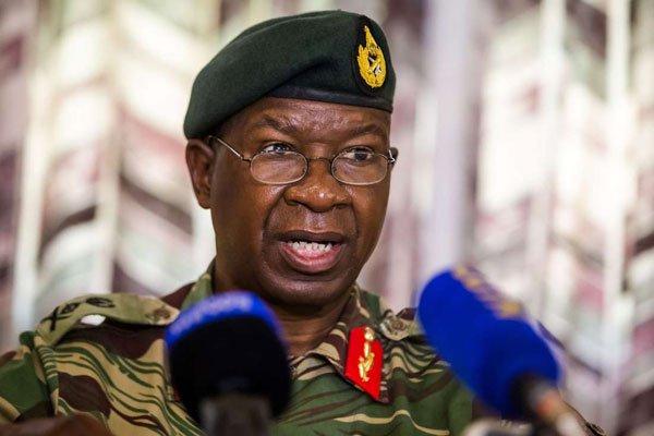 Zimbabwe National Army Commander Lieutenant-General Philip Valerio Sibanda during a press briefing on December 18, 2017 in Harare. PHOTO   JEKESAI NJIKIZANA   AFP