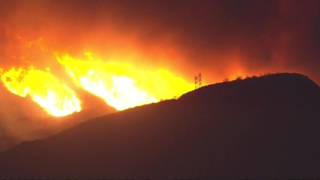 The blaze spread over thousands of acres within a matter of hours. Photo: WCBS