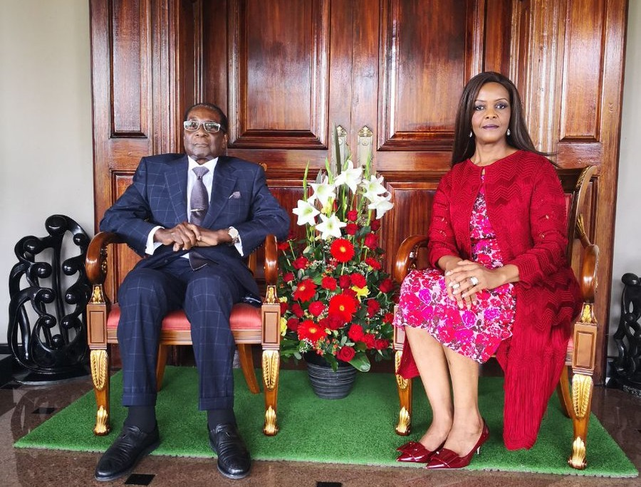 Robert Mugabe and wife, Grace at Blue Roof Mugabe Family residence, marking his 94th birthday.