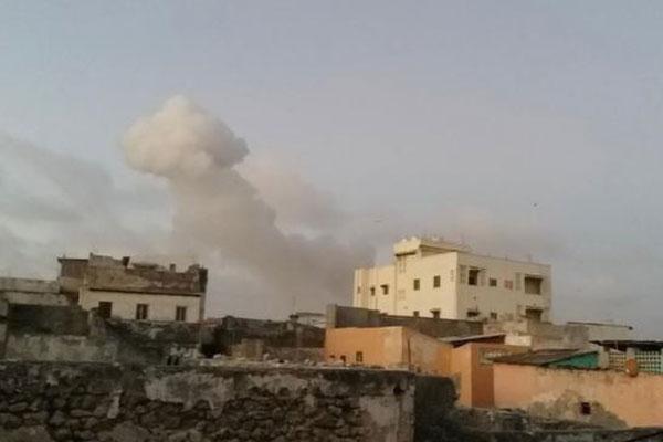 Smoke rises after car bombs exploded in Mogadishu, Somalia. File PHOTO | UNIVERSAL TV