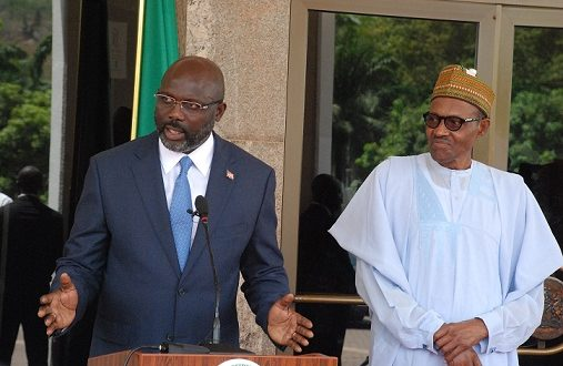 President Weah of Liberia (L) and President Buhari of Nigeria (R)