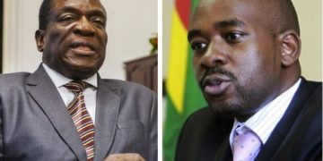 President Mnangagwa (L) and his biggest rival Nelson Chamisa (R) from the MDC Alliance.