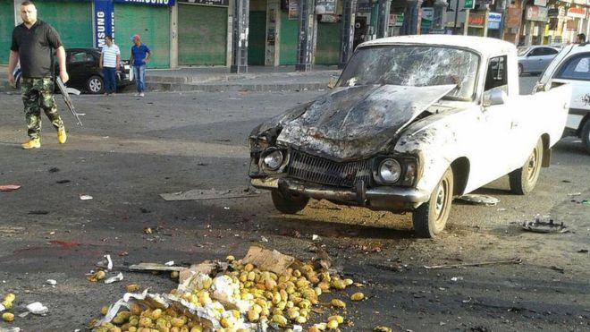 Images of the aftermath of the attacks were broadcast by state media. Photo: AFP