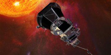Artwork: Parker must always keep its heatshield pointed at the Sun. Photo: NASA-JHU-APL