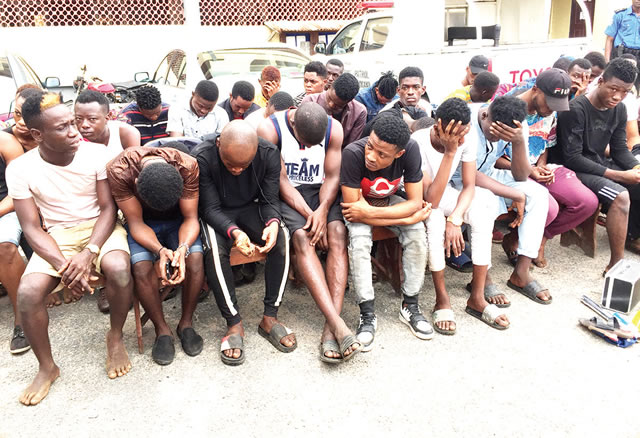 The arrested suspected gays. Photo: Punch