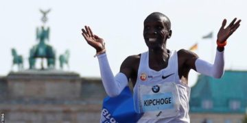 Kipchoge won marathon gold at the 2016 Olympics in Rio
