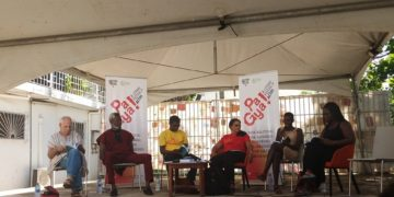 Writers on stage at a festival in Accra. Photo: Africa Feeds Media