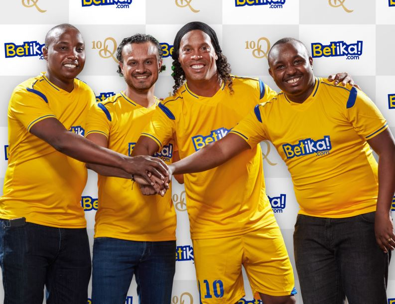 Ronaldinho, second right ia now the Brand Ambassador for Kenya's Betika
