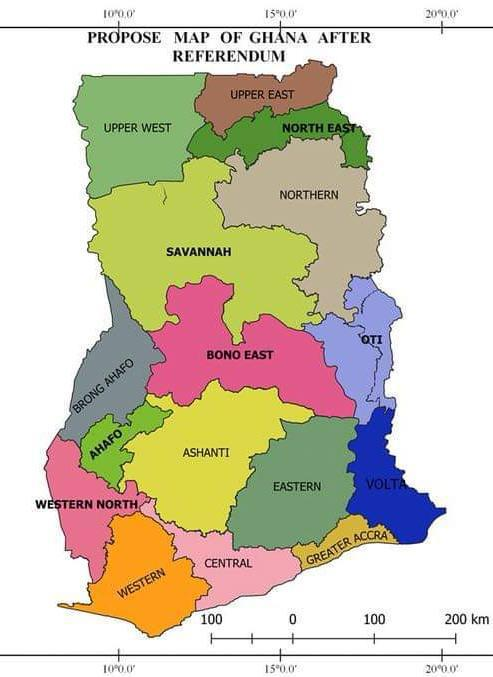Map Of Africa Showing Ghana.Ghana Six New Regions Created After A Referendum Africa Feeds