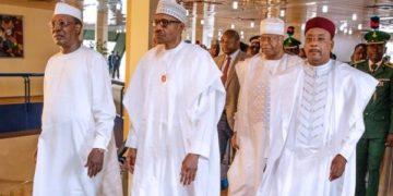 Presidents Idriss Deby Itno of Chad, Buhari of Nigeria and Mahamodou Issoufou of Niger: vow to crush Boko Haram