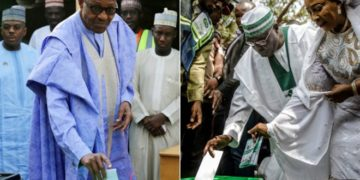 Nigerian president Muhammadu Buhari (L) and his opponent Atiku Abubakar cast their ballots. Photo: REUTERS/AFP