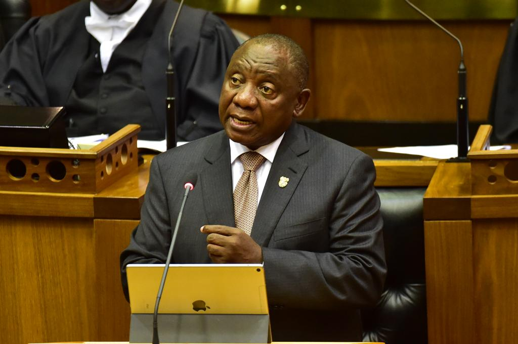 South Africa's President Cyril Ramaphosa speaking in parliament. Photo: Twitter/ GovernmentZA