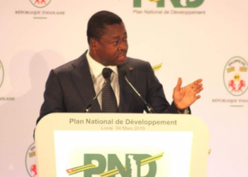 Togolese President Faure Gnassingbé at the launch of the NDP on Monday, March 4, 2019 in Lomé. Photo : ADV