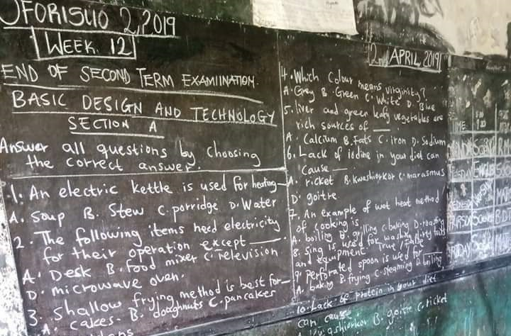 Exams questions are written on blackboards in Ghana instead of printing them.