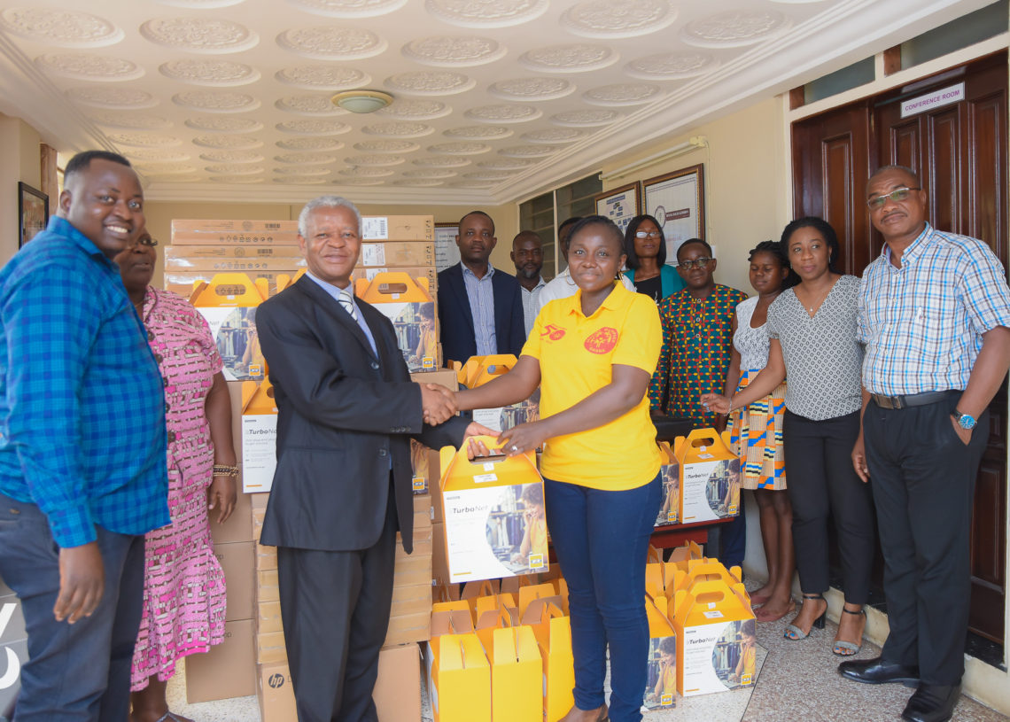 Mental Health Authority officials in Ghana, presenting electronic equipment to partners to boost QualityRights e-training.