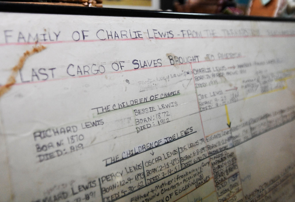 A family tree listing the descendants of Charlie Lewis, who was brought from Africa to the United States on the slave ship Clotilda. Photo: Julie Bennett/Associated Press