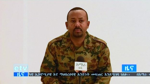 Prime Minister Ahmed Abiy made the announcement about the killings on state TV. Photo: Reuters