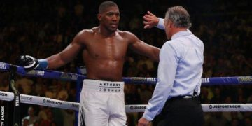 Joshua was knocked down twice in the seventh round before Griffin ended the fight