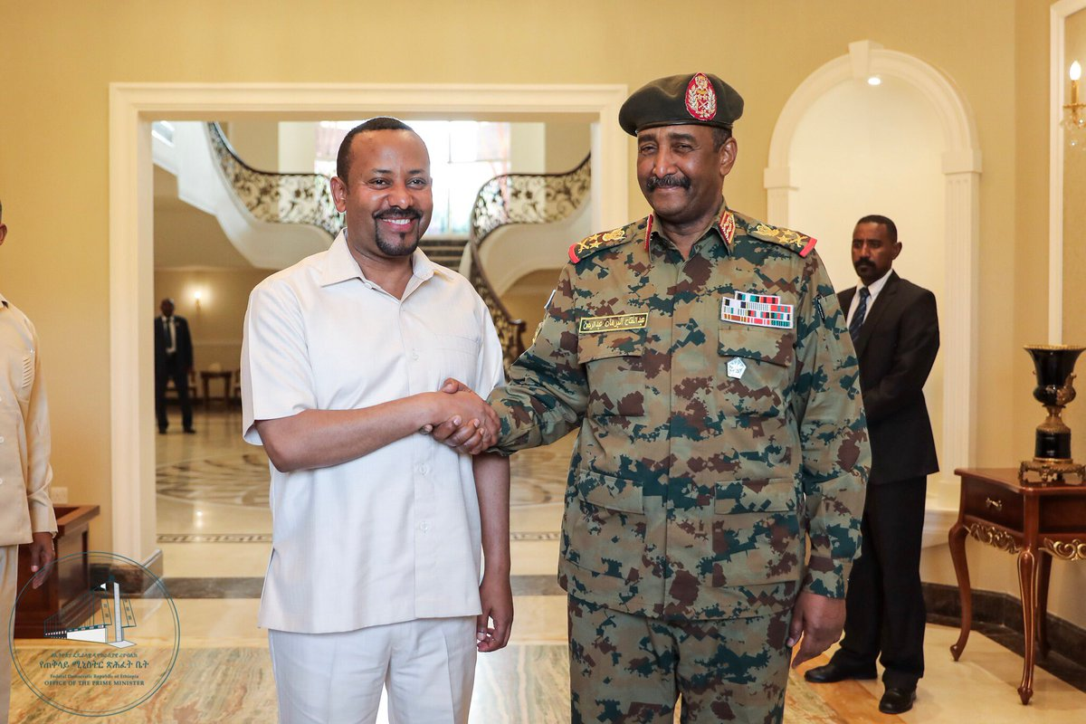Ahmed Abiy of Ethiopia (L) meeting one of Sudan's military leaders in Khartoum. Photo: Twitter / @PMEthiopia