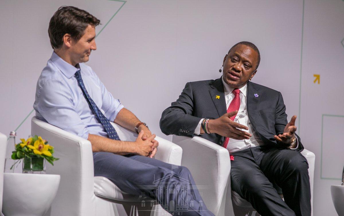 President Uhuru Kenyatta (R) speaking at the Women Deliver conference in Canada. Photo: Twitter/ @StateHouseKenya