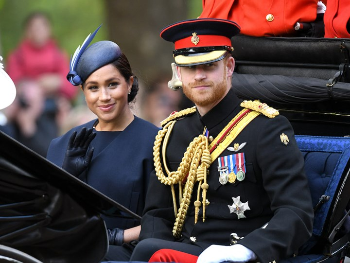 Prince Harry, Duke of Sussex and Meghan, Duchess of Sussex attend Trooping The Colour, the Queen's annual birthday parade, (Photo by Karwai Tang/WireImage)