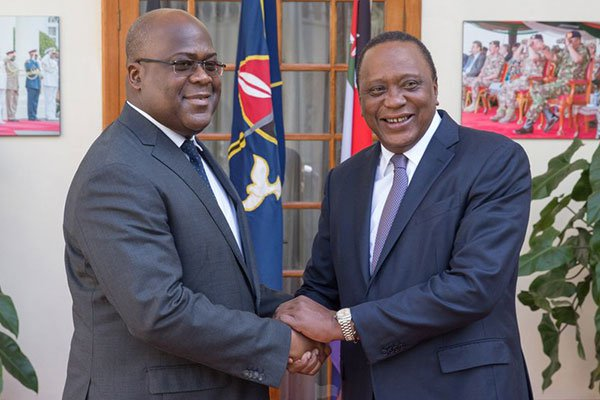 Kenya's President Uhuru Kenyatta (left) welcomes the DR Congo President Felix Tshisekedi at State House, Nairobi on February 6, 2019. PHOTO | PSCU