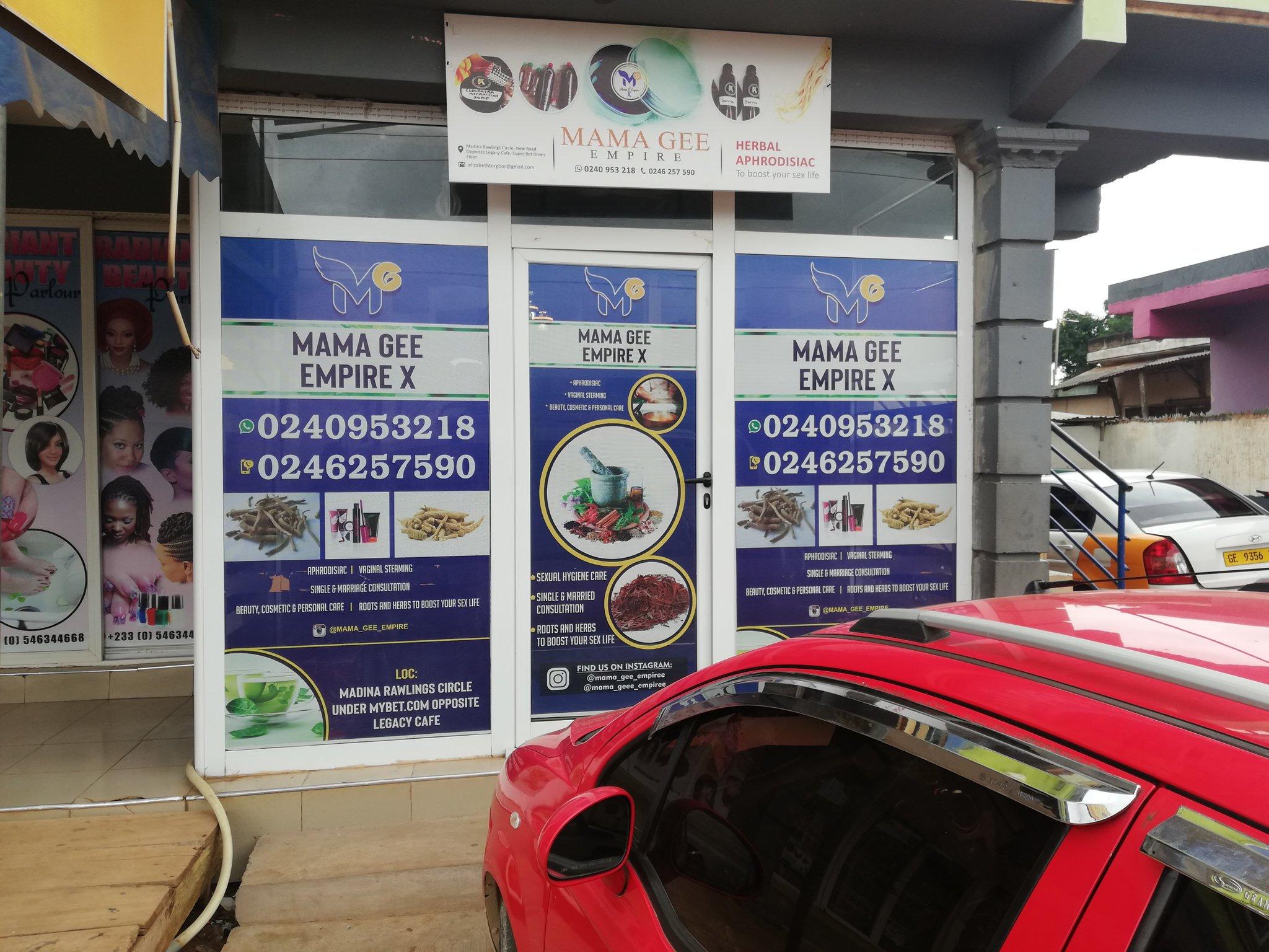 Mama Gee shop in Ghana