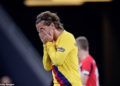 New boy Antoine Griezmann held his face in his hands after the losing start to the season.