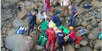 Man falls off rocky cliff