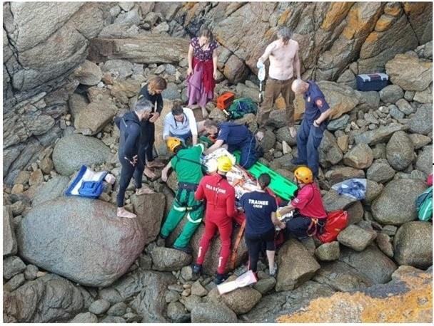 Man falls off rocky cliff