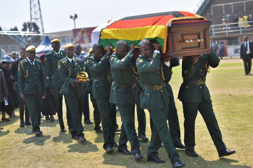 Mugabe coffin carried