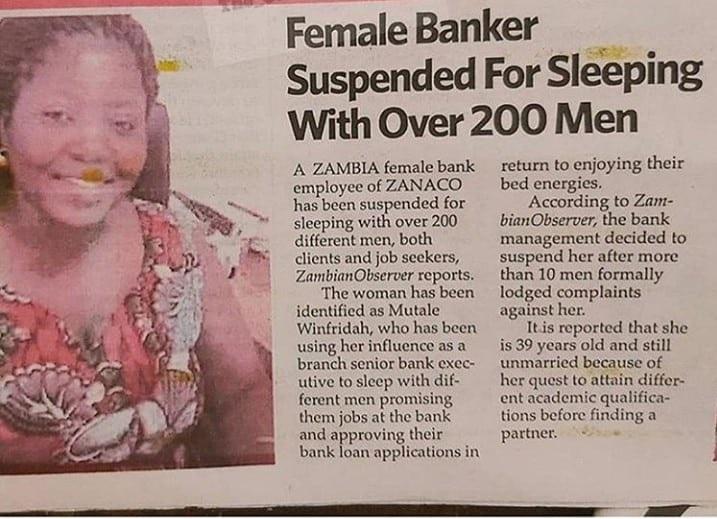 Zambian woman sleeps with 200 men