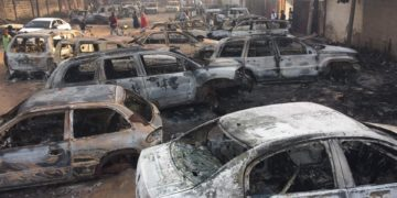 Cars destroyed in fire in Gambia